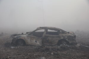 car destroyed after Tianjin explosion