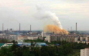 Weiyuan coal fired power plant.Hundreds of residents in a city in southwestern China have protested against foul air emanating from the plant.