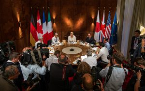 leaders of the G7 surrounding a table