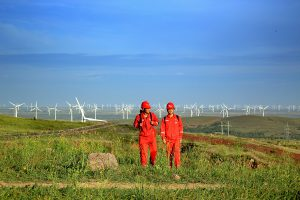 A windfarm in China operated by Chinese wind power producer Goldwind. The company is one of the few that has 'cracked' America so far. (Image byGoldwind)