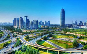 Utopian image of Zhengzhou in Henan province. In reality the city has been one of the most polluted in China (Image bybaike)