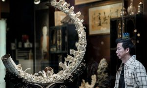 Soaring Chinese demand for ivory-carved ornaments such as the one pictured makes poaching of African animals increasingly lucrative (Image byPhilippe Lopez/AFP/Getty Images)