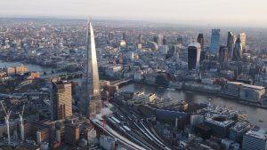 Aerial panoramic shot of the City of London.