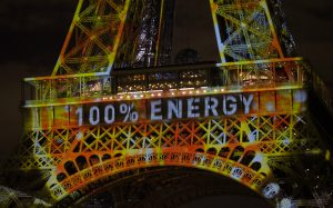 The Eiffel Tower dressed up for COP21 (Image byMark Dixon