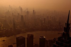 panoramic view of China city pollution