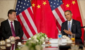 Presidents Xi and Obama meet in 2014 ahead of landmark agreements on climate. Questions have been raised about China's commitment if the US can't deliver on its targets laid out at the Paris climate summit. Pic: US Embassy