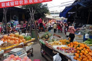 Fruit on sale at a street market in Lu Zhou, China