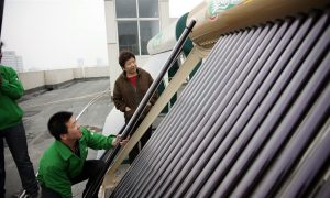 The book highlights the global significance of China's energy revolution, but overlooks local innovation and politics. (Image of solar powered water heaters in Dezhouby绿色和平/苏里)
