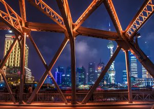 Waibaidu Bridge in Shanghai. Infrastructure accounts for 70% of China's capital spending, but much of it is at risk from climate change (Image by