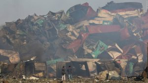 This tangled heap of containers was created by the huge blasts that ripped through Tianjin's port area in August 2015
