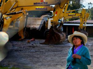 Idle mining equipment in Cajamarca, Peru is evidence of work that stopped in the development of the Newmont Mining Conga mine due to citizen opposition over water-related risks. (Image by J. Carl Ganter / Circle of Blue)
