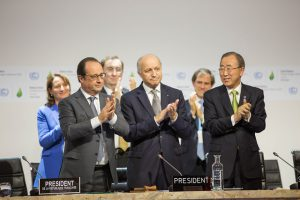Applause after the Paris climate agreement was reached. Pic UNFCCC