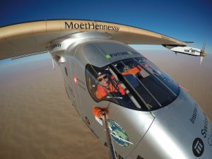 Bertrand Piccard doing a selfie (Image by Solar Impulse)