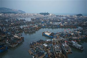 Fishing vessels moored in the port of Zhangzhou, Fujian Province