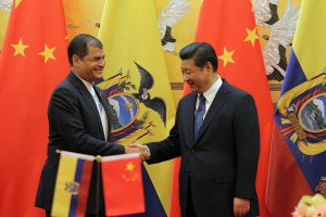 Ecuadorean president Rafael Correa meets counterpart Xi Jinping in Beijing last year. Today President Xi arrives in Ecuador for a 6-day trip around the APEC Summit in Peru (Image by
