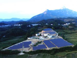 A solar farm in Yuexi country, Anhui province. The government hopes that solar power can help reduce poverty and deal with overcapacity in the solar sector (Image byweibo)
