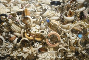 A collection of ivory jewellery. Legal ivory carvers in China use tusks imported during one-off, sanctioned sales from Africa.(Image byGavin Shire / USFWS)