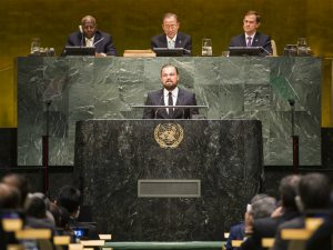 Actor Leonardo DiCaprio speaks at the UN Climate Summit in 2014. His latest documentary Before the Flood has been viewed millions of times online (Image by UN Photo/Mark Garten)