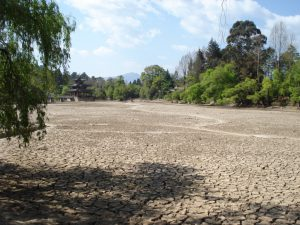 The dried bed of Black Dragon Pool in a park in Lijiang, Yunnan province