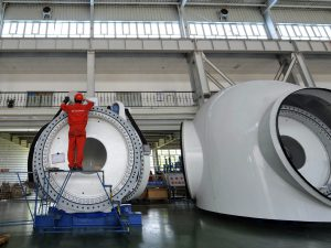 A wind turbine nacelle manufactured by Goldwind, one of China's top clean energy companies