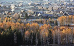 Hemu village in Burqin county, Xinjiang.(Image byRan Cai)