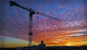 tower crane at sunset