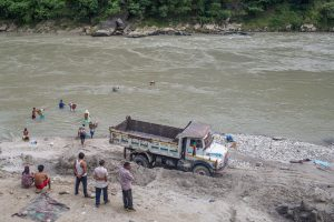 sand mining in the Trishuli river in Dhadhing