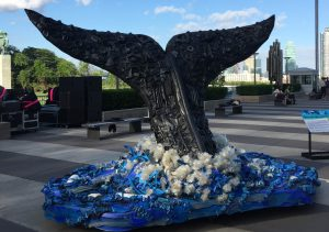 A whale sculpture made out of ocean plastic debris on display at the UN conference centre (Image: James Fahn)