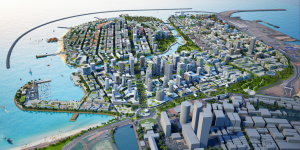 A computer rendering of Port City Colombo showing skyscrapers rising above land reclaimed from the sea (Image: CHEC Port City Colombo (Pvt) Ltd)