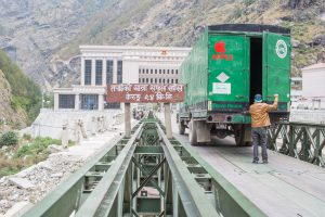 A truck prepares to enter into China at Nepal's border to Tibet in Rasuwa Ghadhi (Image: Nabin Baral)