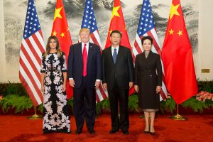 President Trump and First Lady Melania Trump arrive in China. Pictured with President Xi Jinping and wife Peng Liyuan​​ (Shealah Craighead/The White House)