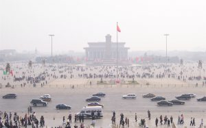 Beijing's Tiananmen Square under smog. The new ministry will regulate both air pollution and CO2 (Photo: McKay Savage)
