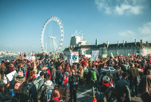 Extinction Rebellion protestors on Westminster bridge (Image: Jess Rose / XR media)