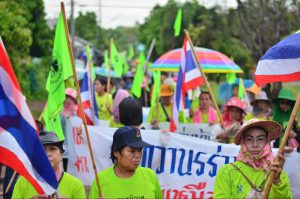 Local women organised a five-day protest march against exploratory drilling for potash in north-east Thailand, drawing about 200 supporters. (Image: Visarut Sankham)