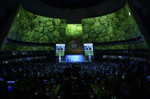 联合国秘书长安东尼奥在气候峰会开幕当天的演说。图片来源:UN Photo/Loey Felipe