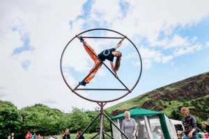 Aerial performer, Edinburgh, 16 June (Image: Extinction Rebellion Scotland)