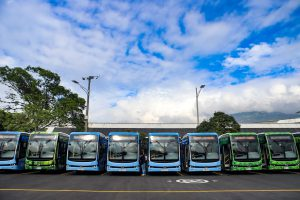 In 2019, Medellín added the first 17 electric buses manufactured by the Chinese company BYD to its public transport system. (Image: Metro de Medellín/Facebook)