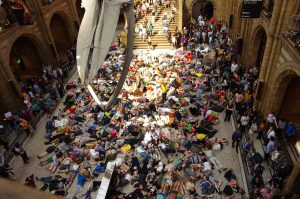 """Last April, protesters staged a mass """"die-in"""" to draw attention to biodiversity lossat the Natural History Museum in London (Image: Extinction Rebellion)"""