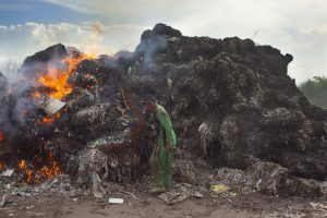 Burning imported plastic waste at a dump in Mojokerto, East Java, Indonesia. (Image: Fully Syafi/China Dialogue)