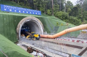 One of the many tunnels being built as part of Malaysia's new East Coast Rail Link to help prevent habitat fragmentation (Image: Alexandra Radu/China Dialogue)
