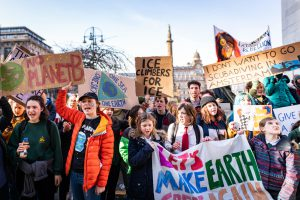 Student climate strikers in Glasgow, where COP26 is due to be held. (Image: Alamy)