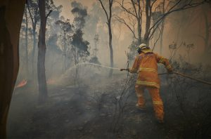 A volunteer firefighter in New South Wales, Australia (Image: © Kiran Ridley / Greenpeace)