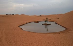 A small lake in the desert has been turned into a tourist attraction. But groundwater extraction means the lake is shrinking.