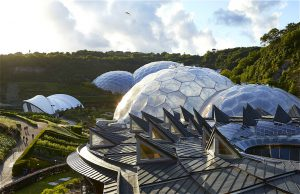 Cathedral to botany. A bird's eye view of the Eden Project Cornwall at dusk.