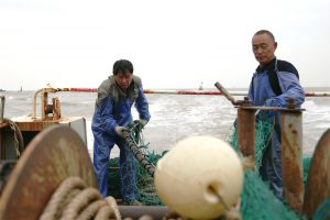Fishermen Wang Zhongjiao and Lin Taidao tidy up their finishing gear as they return from the sea.
