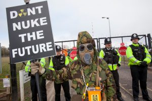 In spring, 2012, around 1,000 people blockaded the Hinkley site, where EDF plans to build a new nuclear plant. (Copyright: Adrian Arbib)