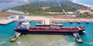 Low-sulphur fuel being discharged into tanks at Hambantota port, Sri Lanka