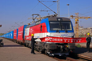 The first direct freight to reach Belgrade from China, laden with equipment for the high-speed Belgrade–Budapest railway project