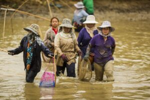 women walk through fishing pond in communities like Chiang Saen in northern Thailand