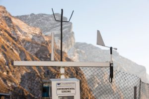 An automated weather station being powered by solar panels at Machapuchare Base Camp, Himalayas, Nepal.